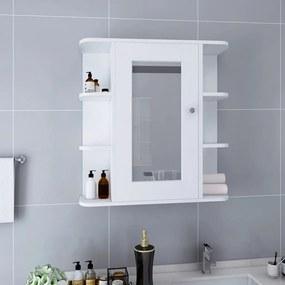 323601 vidaXL Armário espelhado para casa de banho 66x17x63 cm MDF branco