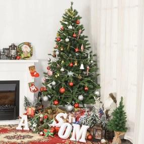 HOMCOM Árvore Artificial de Natal com Base Dobrável 696 Galhos PE Tridente e PVC Individual Árvore de Natal Decorativa Exterior Interior Ø90x180 Verde