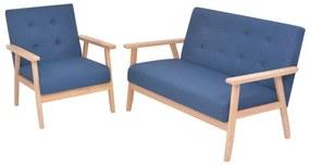 274912 vidaXL Conjunto de sofás 2 pcs tecido azul