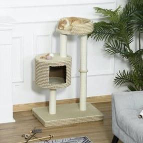 PawHut Árvore para gatos com Caverna de Pelúcia Postes de juta Plataforma confortável 61x41x96 cm Bege e Café