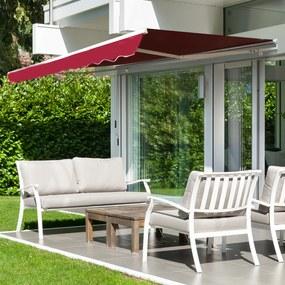 Outsunny Toldo de Alumínio Manual Dobrável 395x245cm com Manivela para pátio Varanda Jardim e Terraço Tecido de poliéster 280g m² - Vermelho