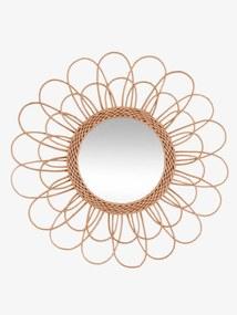 Espelho em rotim castanho claro liso