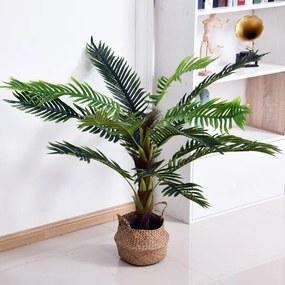 Outsunny Planta Artificial Cycas Artificial 123cm com bastões naturais Árvore decorativa da planta Sintético com vaso de flores