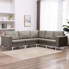 5 pcs conjunto de sofás tecido cinzento-acastanhado