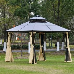 Outsunny Pérgola 3x3 m com teto duplo de policarbonato e 4 cortinas 4 redes mosquiteiras com zíper, moldura de alumínio bege e preto