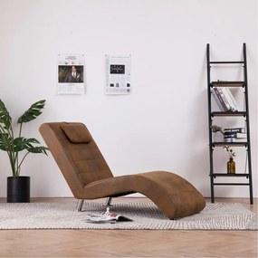 281282 vidaXL Chaise longue com almofada camurça artificial castanho