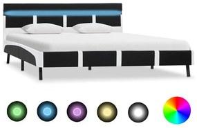 280303 vidaXL Estrutura de cama c/ LED 120x200 cm couro artificial preto