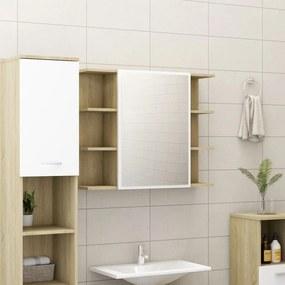 802611 vidaXL Armário WC espelho 80x20,5x64cm contraplacado branco/carvalho