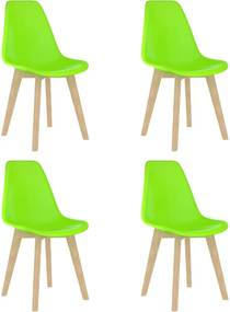 Cadeiras de jantar 4 pcs plástico verde