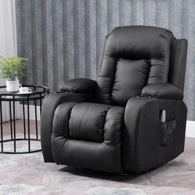 HOMCOM Cadeira de massagem Reclinável até 150° Cadeira de relaxamento com 8 pontos de massagem vibratória Função de aquecimento lombar Controle remoto 90x93x103 cm Preto