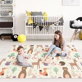 HOMCOM Tapete Infantil Dobrável e Reversível Tapete De Jogos para Bebé Acolchoado 2 Faces Impermeável Antiderrapante Portátil 200x150cm Multicor