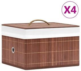 320768 vidaXL Caixas de arrumação 4 pcs bambu castanho