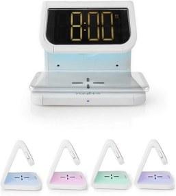 Nedis WCACQ10W1WT - Relógio despertador com carregador sem fios LED/10W/230V branco