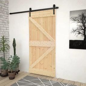 3057499 vidaXL Porta de correr com ferragens 90x210 cm madeira de pinho maciça