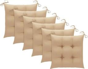 Almofadões de cadeira 6 pcs 40x40x7 cm tecido bege