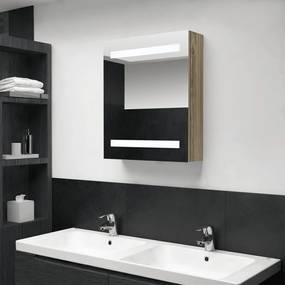 326484 vidaXL Armário espelhado p/ casa de banho com LED 50x14x60 cm carvalho