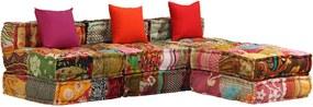 Sofá-cama modular de 3 lugares em retalhos