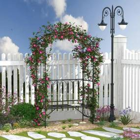 Arco de jardim com banco de metal suporte para plantas trepadeiras e rosas para varanda 115x50x203 cm Preto