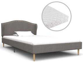 277210 vidaXL Cama com colchão 90x200cm tecido cinzento-claro