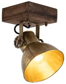Foco industrial bronze madeira 18cm - MANGOES Industrial
