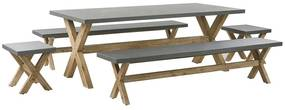 Conjunto de jardim mesa com 2 bancos e tamboretes cinzentos OLBIA