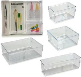 Organizador para Gavetas Plástico (25 x 6 x 39 cm) (4 Peças) Transparente