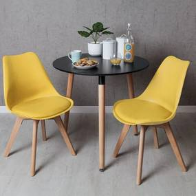 Conjunto Mesa Tower Redonda 80 cm Preta e Pack 2 Cadeiras Synk Basic