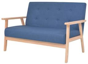 244655 vidaXL Sofá de 2 lugares em tecido azul