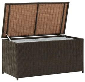 46472 vidaXL Caixa de arrumação para jardim 100x50x50 cm vime PE castanho