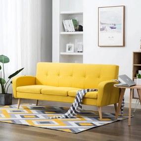 246992 vidaXL Sofá de 3 lugares em tecido amarelo