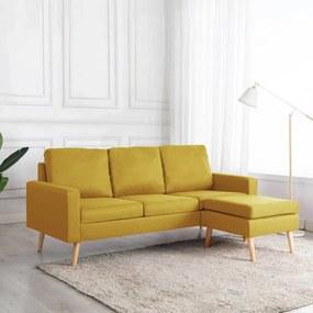 288729 vidaXL Sofá de 3 lugares com apoio de pés tecido amarelo