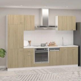 3067634 vidaXL 7 pcs conj. armários cozinha contraplacado cor carvalho sonoma