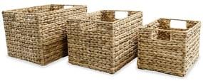 245490 vidaXL Conjunto cestos de arrumação 3 pcs jacinto de água