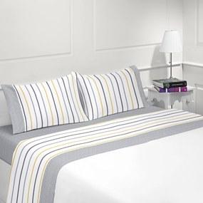 Jogo de lençóis 100% algodão - PRAGA da Casa&Algodão: cama 180cm - 1 sábana encimera 260 x 290 cm + 1 bajera ajustable 180 x 200 + 30 cm + 2 funda almohada 50x70 cm