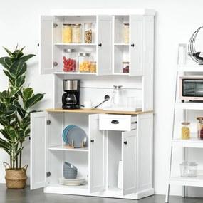 HOMCOM Armário de Cozinha Armário Organizador com 7 prateleiras e uma gaveta removível 4 portas com prateleiras ajustáveis 101x39x180 cm Branco