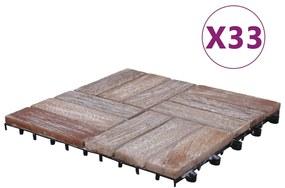 3055177 vidaXL Ladrilhos de terraço 33 pcs 30x30 cm madeira recuperada maciça