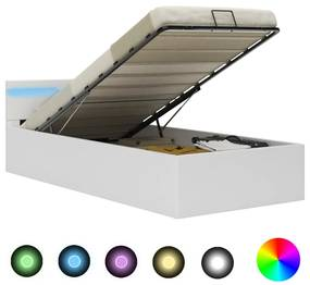 285547 vidaXL Cama hidráulica c/ arrumação LED 100x200cm couro artifi. branco