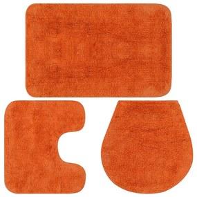 133227 vidaXL Conjunto tapetes de casa de banho 3 pcs tecido laranja
