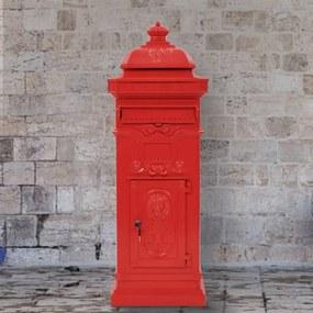43891 vidaXL Caixa correio coluna vintage alumínio inoxidável vermelho