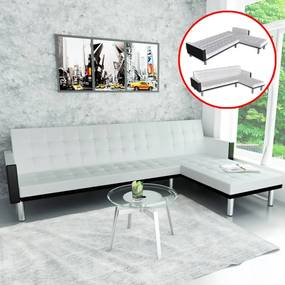 Sofá-cama em forma de L, couro artificial, branco