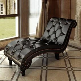 240407 vidaXL Chaise longue couro artificial castanho
