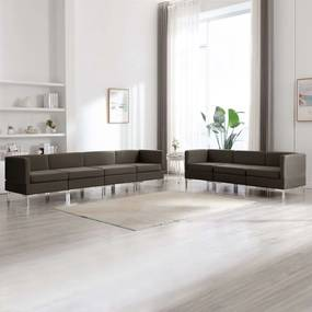 3052878 vidaXL 7 pcs conjunto de sofás tecido cinzento-acastanhado