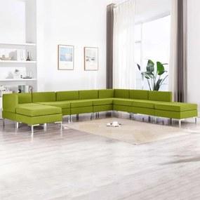 3052894 vidaXL 9 pcs conjunto de sofás tecido verde