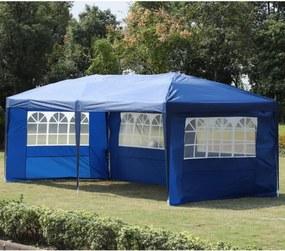 Pérgola Dobrável 600x300x255cm Aço Oxford com 4 Painéis Janelas Azul