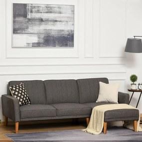 HOMCOM Sofá-cama em forma de L estofado com chaise longue direita e encostos ajustáveis separadamente em 3 posições 216x139x80 cm cinza