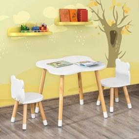 HOMCOM Conjunto Infantil de Mesa e 2 Cadeiras de Madeira Móveis Infantil para Sala de Jogos Dormitório de Crianças Mesa 56x56x50cm e Cadeira 28x25x46cm Branco