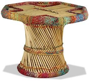 244214 vidaXL Mesa de centro em bambu com detalhes chindi multicor