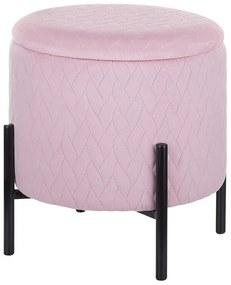 Repousa-pés em veludo rosa com espaço de arrumação WENONA