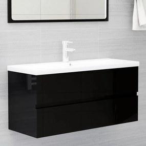 804771 vidaXL Armário lavatório 100x38,5x45 cm contraplacado preto brilhante
