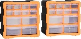 Caixas organizadoras com 12 gavetas 2 pcs 26,5x16x26 cm